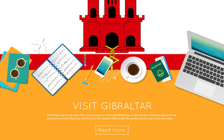 Visit Gibraltar concept for your web banner or print materials. Top view of a laptop, sunglasses and coffee cup on Gibraltar national flag. Flat style travel planninng website header. Illustration