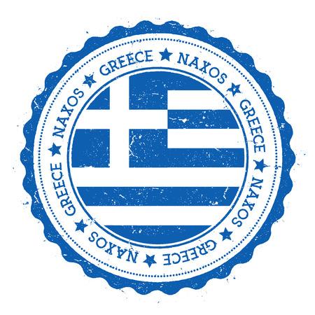 Naxos flag badge. Vintage travel stamp with circular text, stars and island flag inside it. Vector illustration. Illustration