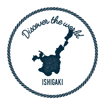 Ishigaki map in vintage discover the world insignia. Hipster style nautical postage stamp, with round rope border. Vector illustration.