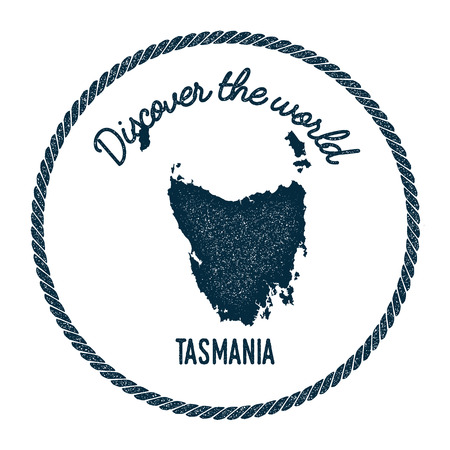 Tasmania map in vintage discover the world insignia. Hipster style nautical postage stamp, with round rope border. Vector illustration. Illustration