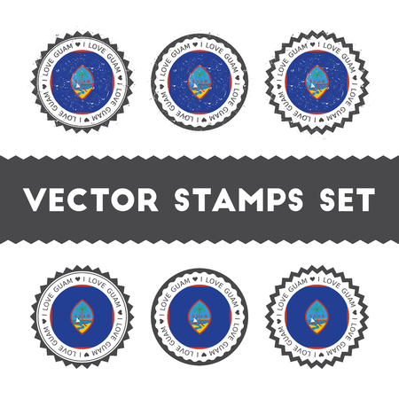 Ik hou van Guam vector stempels set. Retro patriottische land vlag badges. Nationale vlaggen vintage ronde borden.