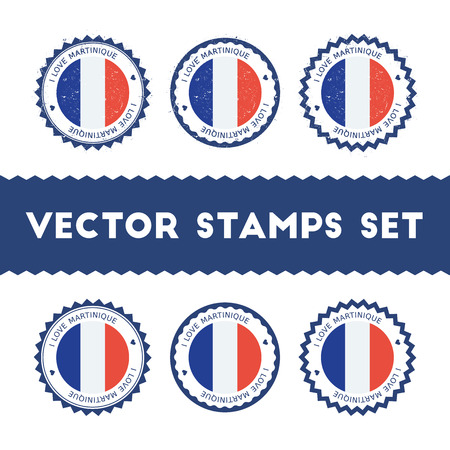 I Love Martinique vector stamps set. Retro patriotic country flag badges. National flags vintage round signs.