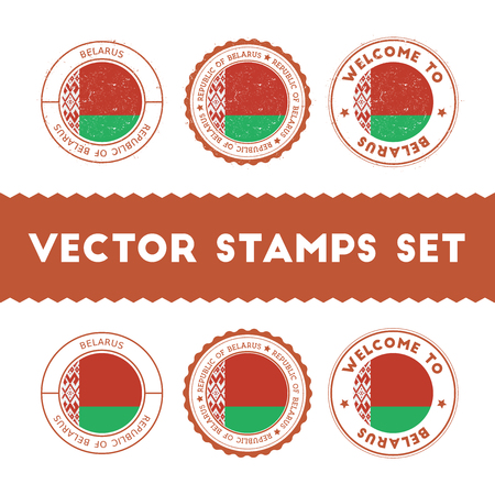Belarus flag rubber stamps set. National flags grunge stamps. Country round badges collection. Illustration