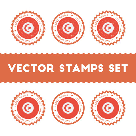 I Love Tunisia vector stamps set. Retro patriotic country flag badges. National flags vintage round signs. Ilustração