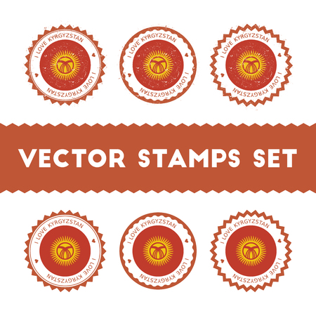 I Love Kyrgyzstan vector stamps set. Retro patriotic country flag badges. National flags vintage round signs. Illustration