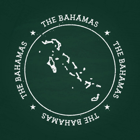 White chalk texture rubber seal with Commonwealth of the Bahamas map on a green blackboard. Grunge rubber seal with country outlines, vector illustration.