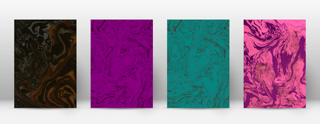 Modern symmetrical abstract design template of suminagashi marble on colored illustration.