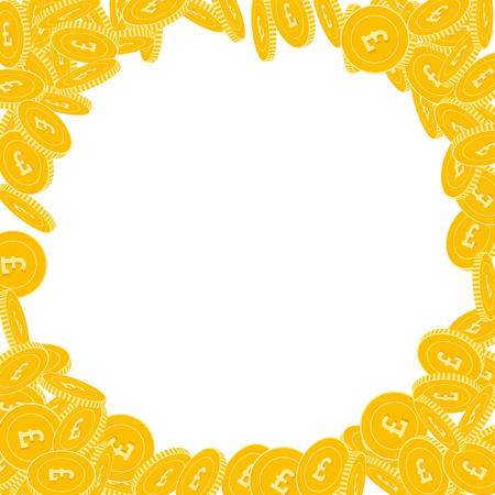 British pound coins falling. Scattered big GBP coins on white background. Stunning corner frame vector illustration. Jackpot or success concept. Illustration
