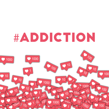 #addiction. Social media icons in abstract shape background with pink counter. #addiction concept in majestic vector illustration. Ilustrace