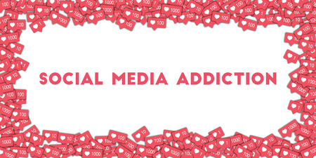 Social media addiction. Social media icons in abstract shape background with pink counter. Social media addiction concept in charming vector illustration. Illustration