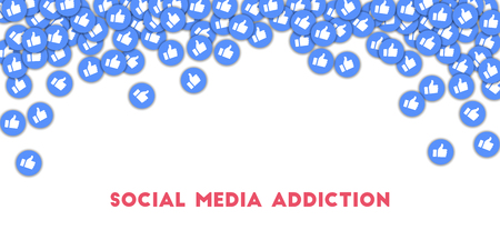 Social media addiction. Social media icons in abstract shape background with scattered thumbs up. Social media addiction concept in good-looking vector illustration.