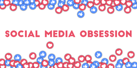 Social media obsession. Social media icons in abstract shape background with scattered thumbs up and hearts. Social media obsession concept in mesmeric vector illustration. Illustration
