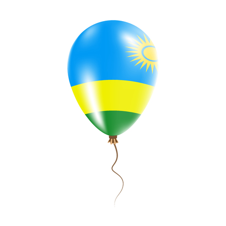 Rwanda balloon with flag. Bright Air Ballon in the Country National Colors. Country Flag Rubber Balloon. Vector Illustration.