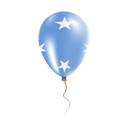 Micronesia, Federated States Of balloon with flag. Bright Air Ballon in the Country National Colors. Country Flag Rubber Balloon. Vector Illustration.