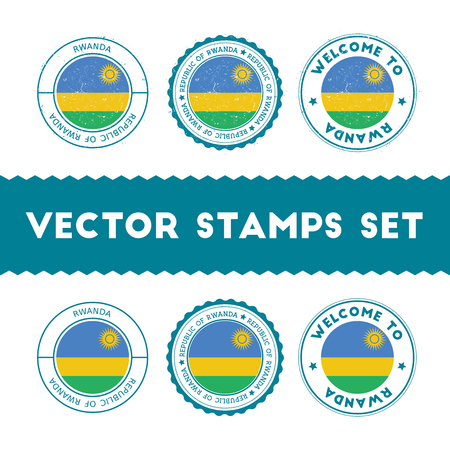 Rwandan flag rubber stamps set. National flags grunge stamps. Country round badges collection.