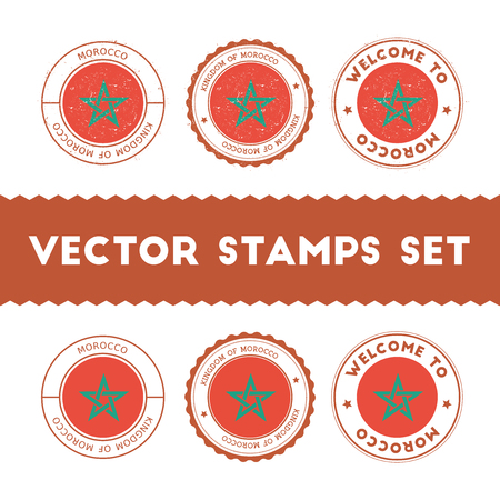 Moroccan flag rubber stamps set. National flags grunge stamps. Country round badges collection.