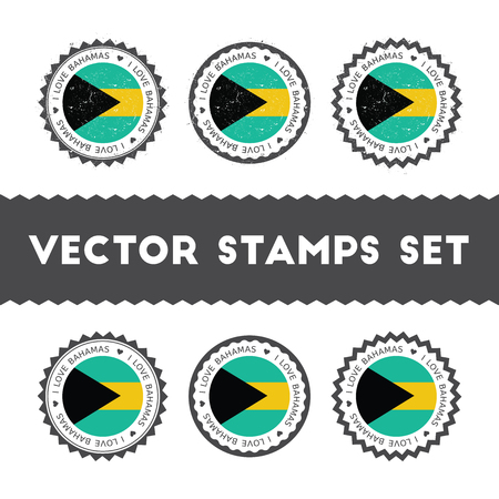 I Love Bahamas vector stamps set. Retro patriotic country flag badges. National flags vintage round signs.