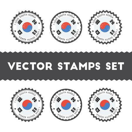 I Love Korea, Republic of vector stamps set. Retro patriotic country flag badges.