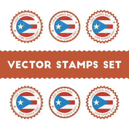 I Love Puerto Rico vector stamps set. Retro patriotic country flag badges. National flags vintage round signs.