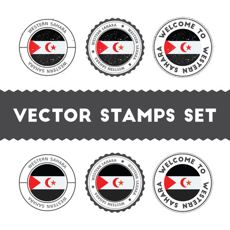 Sahrawi flag rubber stamps set. National flags grunge stamps. Country round badges collection. Illustration