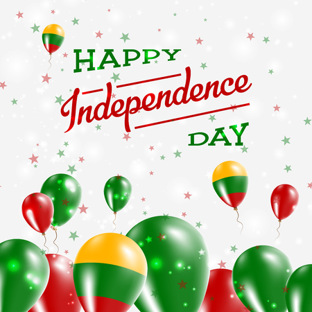 Lithuania Independence Day Patriotic Design. Balloons in National Colors of the Country. Happy Independence Day Vector Greeting Card.