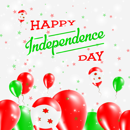 Burundi Independence Day Patriotic Design. Balloons in National Colors of the Country. Happy Independence Day Vector Greeting Card. Illustration