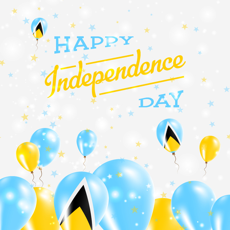 Saint Lucia Independence Day Patriotic Design. Balloons in National Colors of the Country. Happy Independence Day Vector Greeting Card.