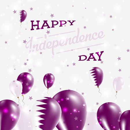 Qatar Independence Day Patriotic Design. Balloons in National Colors of the Country. Happy Independence Day Vector Greeting Card.