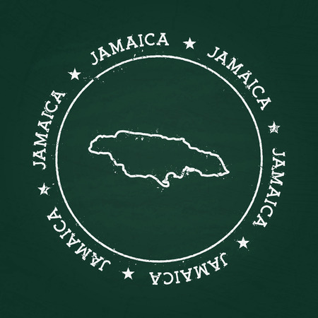 White chalk texture rubber seal with Jamaica map on a green blackboard. Grunge rubber seal with country outlines, vector illustration. Illustration