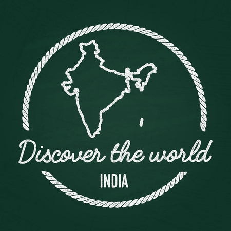 White chalk texture hipster insignia with Republic of India map on a green blackboard. Grunge rubber seal with country outlines, vector illustration.