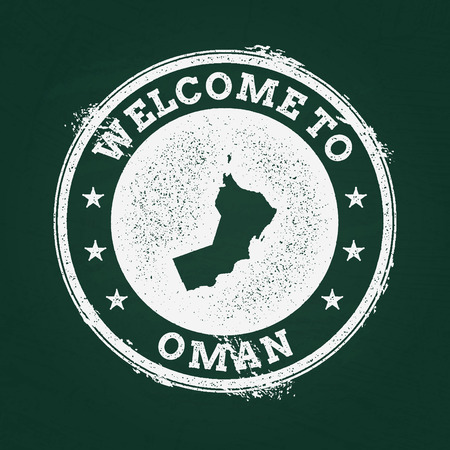 White chalk texture retro stamp with Sultanate of Oman map on a green blackboard. Grunge rubber seal with country outlines, vector illustration.