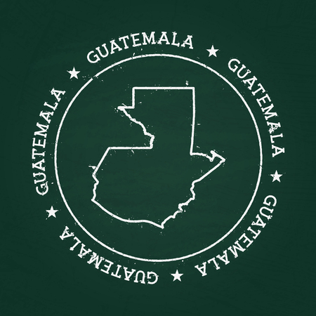 White chalk texture rubber seal with Republic of Guatemala map on a green blackboard. Grunge rubber seal with country outlines, vector illustration.
