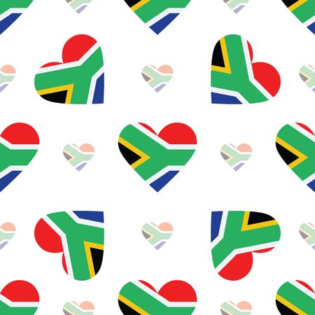 Drapeau de la République d'Afrique du Sud modèle sans couture patriotique. Drapeau national en forme de coeur. Illustration vectorielle. Vecteurs