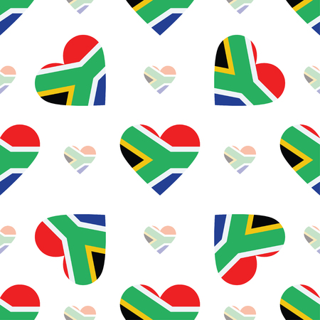 Republic of South Africa flag patriotic seamless pattern. National flag in the shape of heart. Vector illustration. Vetores