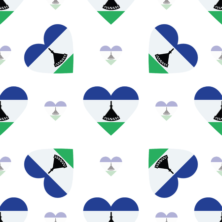 Lesotho flag patriotic seamless pattern. National flag in the shape of heart. Vector illustration.
