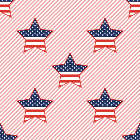 USA patriotic stars seamless pattern on red stripes background. American patriotic wallpaper with USA patriotic stars. Wrapping pattern vector illustration.