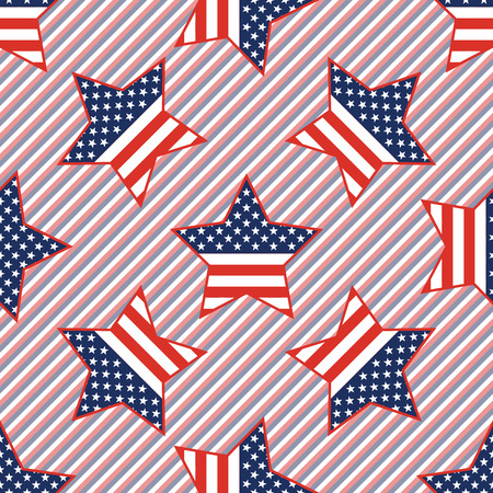 USA patriotic stars seamless pattern on red and blue stripes background. American patriotic wallpaper, grid pattern vector illustration.