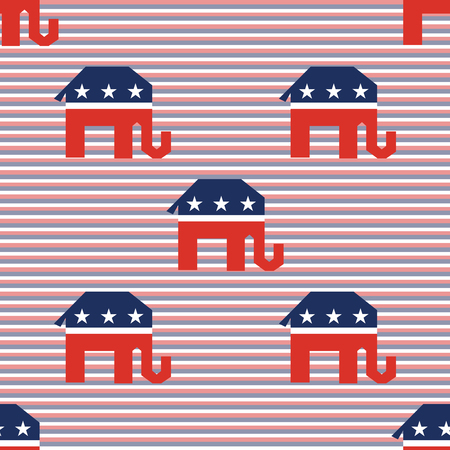 Broken elephants seamless pattern on red and blue diagonal stripes background. USA presidential elections patriotic wallpaper. Wrapping pattern vector illustration.