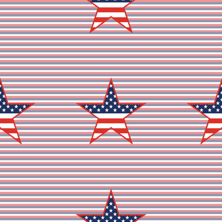 US patriotic stars in continuous pattern on red and blue diagonal stripes background illustration. Ilustração