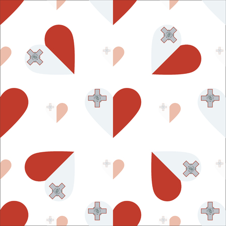 Malta flag patriotic seamless pattern. National flag in the shape of heart. Vector illustration.