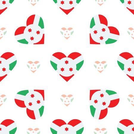 Modèle sans couture de coeur drapeau Burundi. Fond de drapeau patriotique du Burundi. Drapeau du pays en forme de coeur. Modèle sans couture de vecteur.