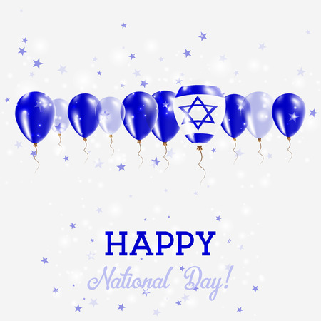 Israel Independence Day Sparkling Patriotic Poster. Happy Independence Day Card with Israel Flags, Confetti, Stars, Bokeh and Glitter. Illustration