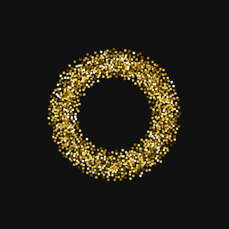 Gold glitter. Smal bagel with gold glitter on black background. Rare Vector illustration.