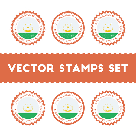 I Love Tajikistan vector stamps set. Retro patriotic country flag badges. National flags vintage round signs. Çizim