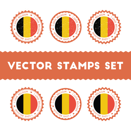 I Love Belgium stamps icon illustration