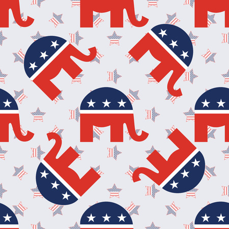 Elephants on american stars for USA presidential elections patriotic wallpaper in a tiling pattern.
