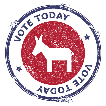 Grunge roto sello de goma de burros demócratas. Sello patriótico de la elección presidencial de Estados Unidos con silueta de burros demócratas rotos y texto Vote Today. Ilustración de vector de sello de goma.