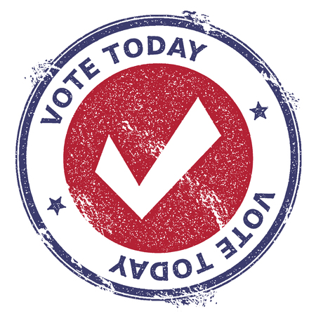 Grunge check mark rubber stamp. USA presidential election patriotic seal with check mark silhouette and Vote Today text. Rubber stamp vector illustration.