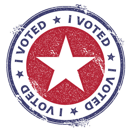 Grunge USA patriotic stars rubber stamp. USA presidential election patriotic seal with USA patriotic stars silhouette and I voted text. Rubber stamp vector illustration. Illustration