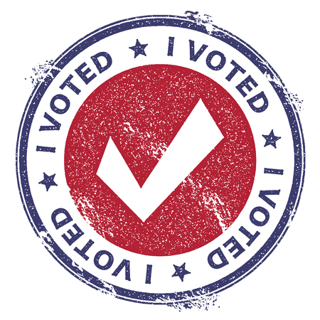 Grunge check mark rubber stamp. USA presidential election patriotic seal with check mark silhouette and I voted text. Rubber stamp vector illustration.